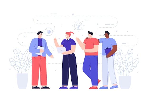 Trabalhadores felizes compartilhando idéias Vetor grátis