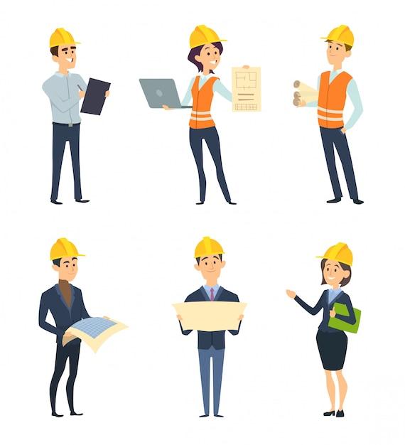 Trabalhadores industriais. arquiteto e engenheiro masculino e feminino Vetor Premium