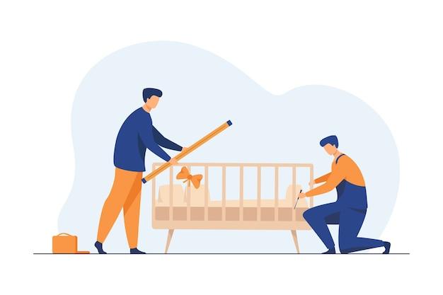 Trabalhadores manuais instalando berço infantil no quarto. montagem, ferramenta, ilustração em vetor plana trabalhador. móveis e parto Vetor grátis