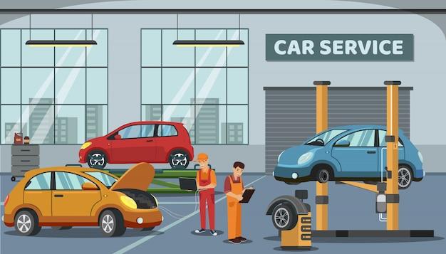 Trabalhadores perto de carros na estação de serviço. . Vetor Premium