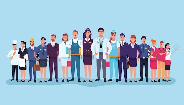 Trabalhadores profissionais dos desenhos animados do dia de trabalho Vetor Premium