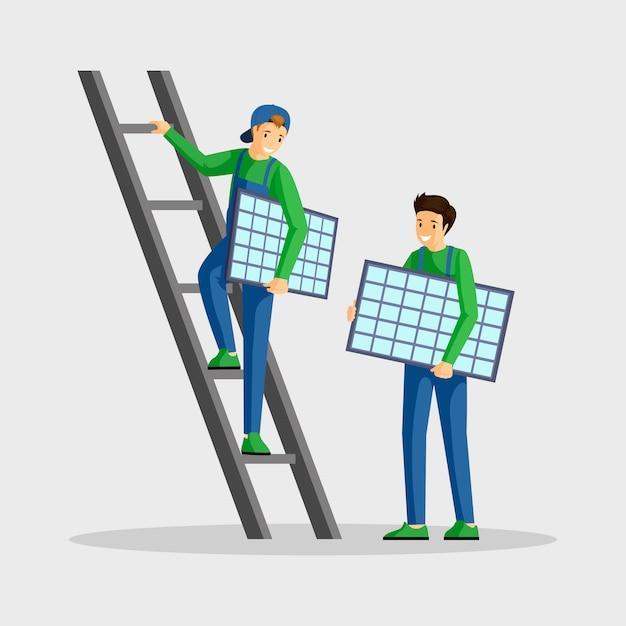 Trabalhadores que instalam ilustração de painéis solares. especialistas em configuração de módulo fotovoltaico, engenheiro em personagem de desenho animado de escada. usando energia alternativa, energia renovável, estilo de vida sustentável Vetor Premium