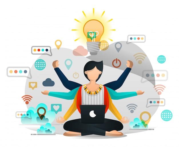 Trabalhadores que meditam buscar inspiração Vetor Premium