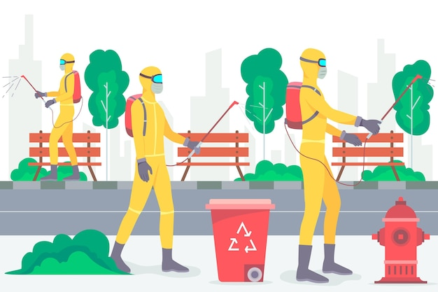Trabalhadores que prestam serviço de limpeza em espaços públicos Vetor grátis