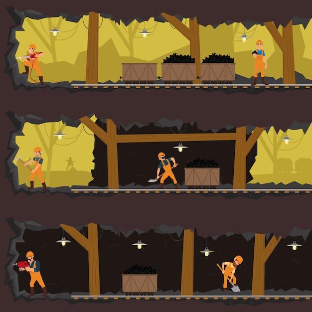 Trabalhadores que trabalham na mina em diferentes níveis. Vetor Premium
