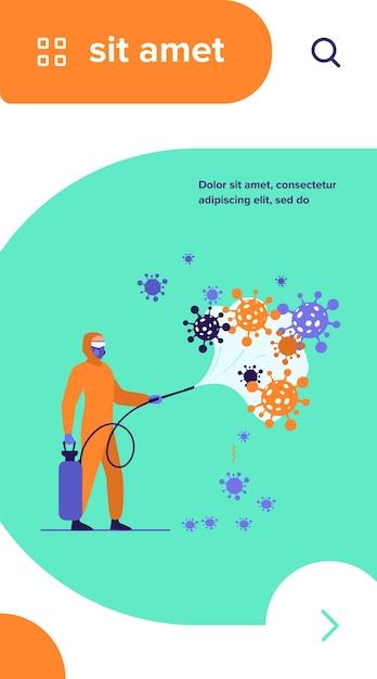Trabalhadores sanitários em trajes de proteção, espalhando produtos químicos em vírus e desinfetando a superfície Vetor grátis