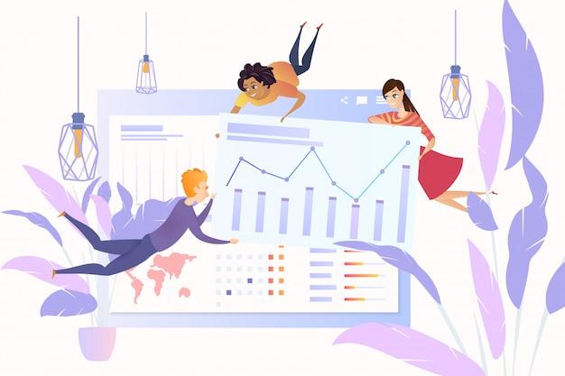 Trabalhando com o vetor de desenhos animados de dados de estatísticas on-line Vetor Premium
