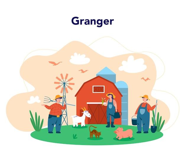 Trabalhando em uma fazenda, conceito de agricultor Vetor Premium
