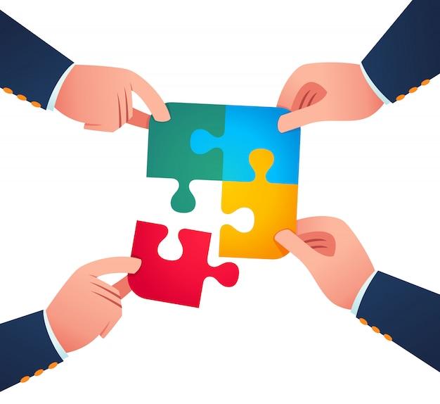 Trabalhando juntos para unir a peça do quebra-cabeça Vetor Premium
