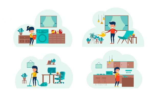 Trabalhar em casa - pacote Vetor Premium