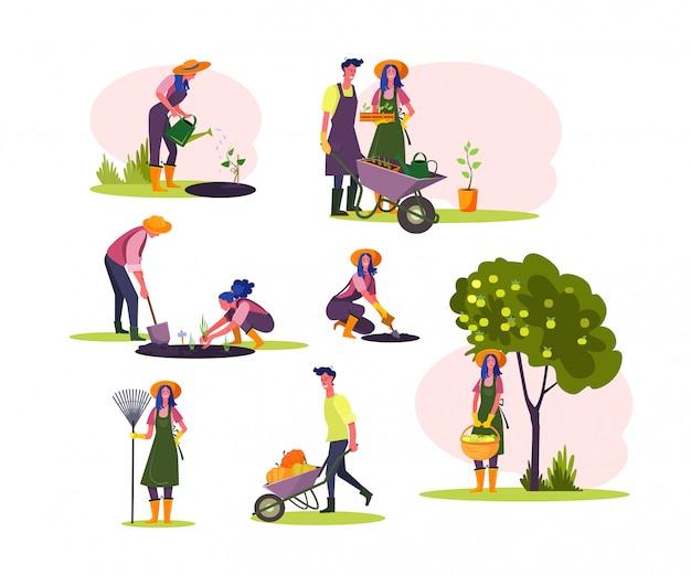 Trabalhar em conjunto de jardim Vetor grátis