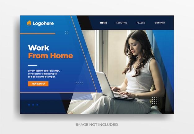 Trabalhar no banner de negócios em casa Vetor Premium