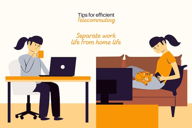 Trabalhe a partir de trabalho separado remoto em casa e tempo livre Vetor grátis