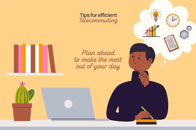 Trabalhe a partir do planejamento do dia em casa Vetor Premium