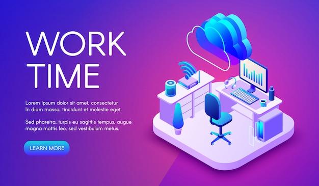 Trabalhe e ilustração do internet da nuvem do escritório ou do local de trabalho esperto com conexão do roteador. Vetor grátis