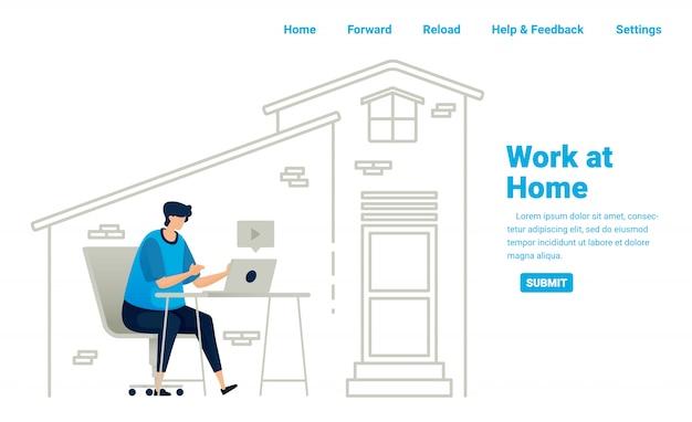 Trabalhe em casa durante a pandemia de covid-19. trabalhos freelancers e oportunidades de negócios em casa com conexão à internet. projeto de ilustração da página inicial, site, aplicativos móveis, cartaz, folheto, banner Vetor Premium