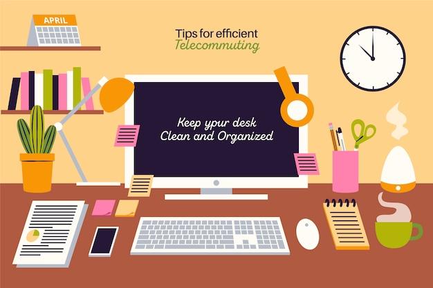 Trabalhe em casa, remotamente, como se manter organizado Vetor grátis