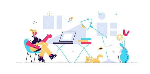 Trabalho de casa, ilustração de pessoa minúscula. instalação interior do local de trabalho do escritório remoto freelancer com mesa, cadeira e computador. garota er curtindo a liberdade e a rotina da vida diária. Vetor Premium