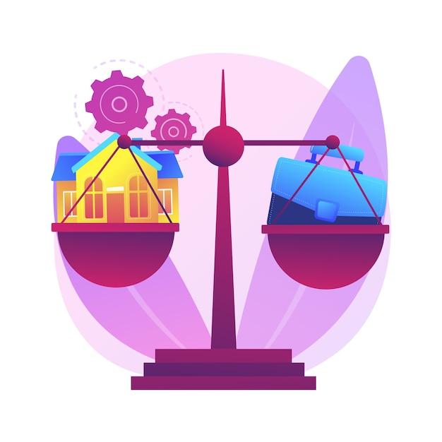 Trabalho de equilíbrio e ilustração do conceito abstrato de família. equilíbrio entre trabalho e vida, família feliz, pai e mãe de negócios em casa, filhos no escritório, gerenciamento de tempo, freelance Vetor grátis