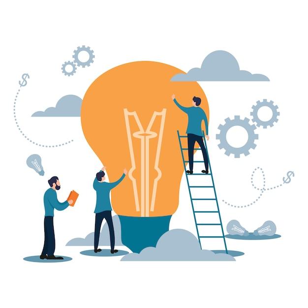 Trabalho de equipe de alvo de negócios com estilo de cartoon plana de lâmpada Vetor Premium