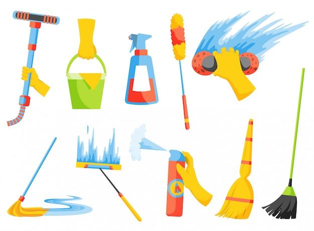 Trabalho doméstico. equipamentos de limpeza doméstica. kit de limpeza. uma coleção de ícone colorido conjunto isolada no branco Vetor Premium