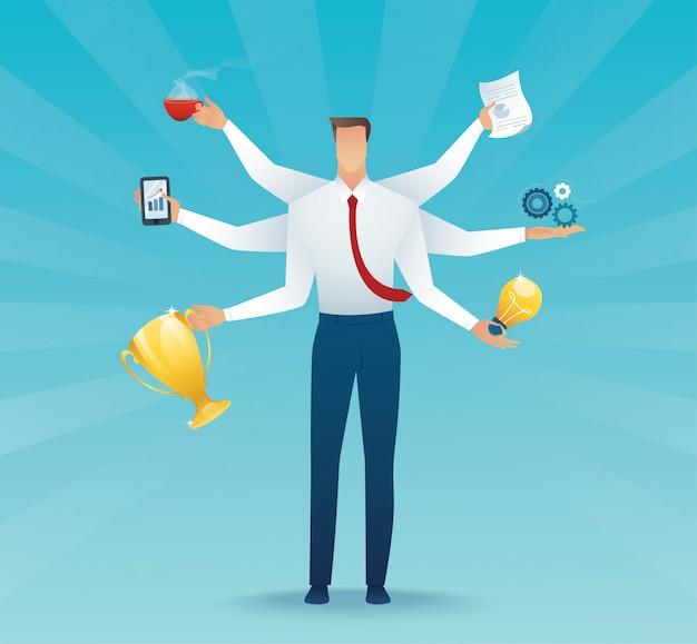 Trabalho duro multitarefa do caráter dos homens de negócios Vetor Premium
