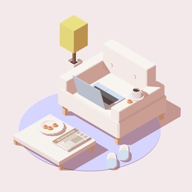 Trabalho em casa ou ícone de educação on-line incluem cadeira, mesa, laptop, xícara de café e chinelos Vetor Premium