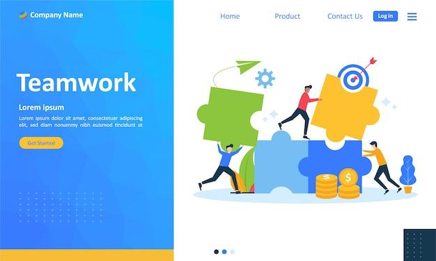 Trabalho em equipe com pessoas conectando quebra-cabeça para a página de destino da web Vetor Premium