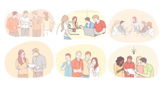 Trabalho em equipe, comunicação, brainstorming no conceito de escritório. empresários parceiros colegas de trabalho Vetor Premium