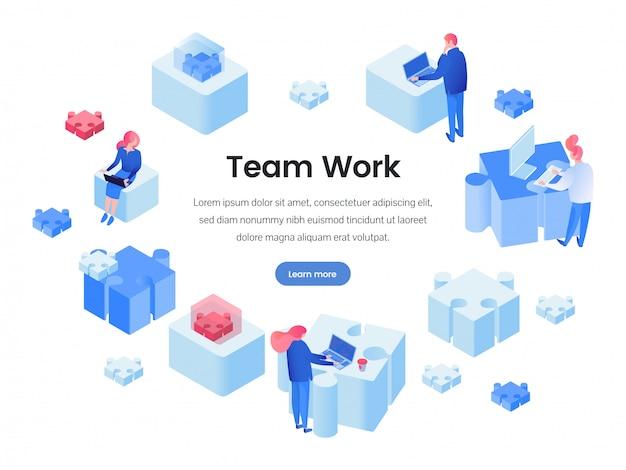 Trabalho em equipe, construção de equipe isométrica página de destino Vetor Premium