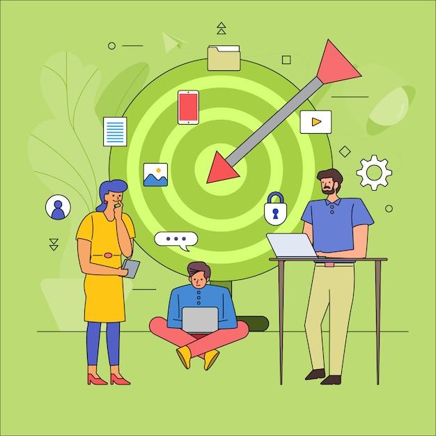 Trabalho em equipe, construindo a indústria de negócios do público-alvo. desenho de linha do ícone estilo gráfico. ilustrar. Vetor Premium