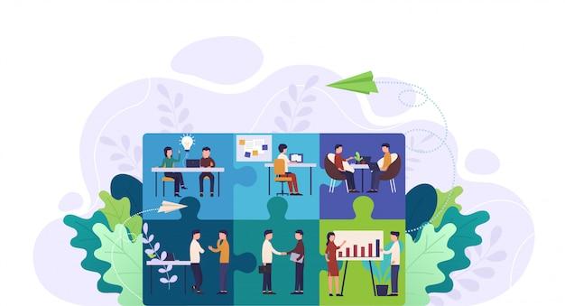 Trabalho em equipe, cooperação e parceria Vetor Premium