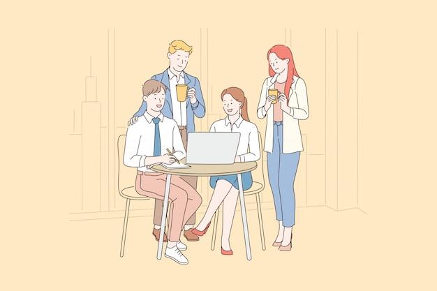 Trabalho em equipe, coworking, cooperação. Vetor Premium