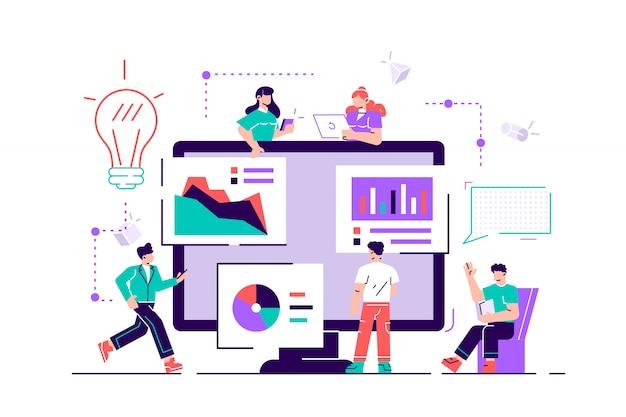 Trabalho em equipe criativo. as pessoas estão construindo um projeto de negócios na internet. a tela do monitor é um canteiro de obras. Vetor Premium