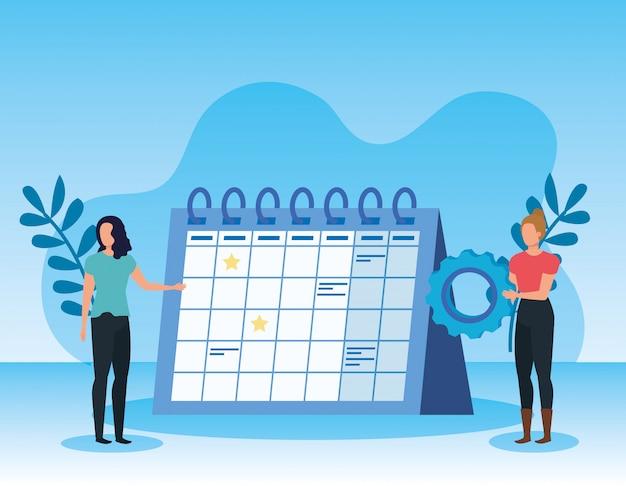 Trabalho em equipe de mulheres com calendário e equipamento com plantas de folhas Vetor Premium