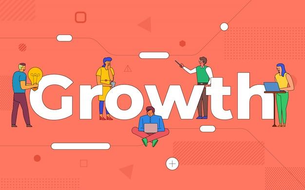 Trabalho em equipe de negócios de ilustrações cria crescimento de negócios trabalhando juntos. construir o crescimento do conceito de texto. ilustrar. Vetor Premium
