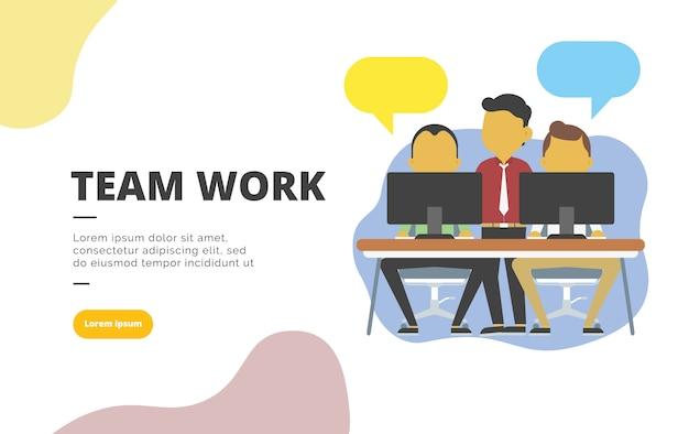 Trabalho em equipe design plano banner ilustração Vetor Premium