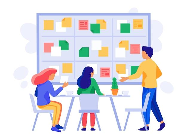 Trabalho em equipe do conselho kanban. esquema de briefing, gerenciamento de scrum e equipe de funcionários de negócios planejando ilustração de brainstorm Vetor Premium