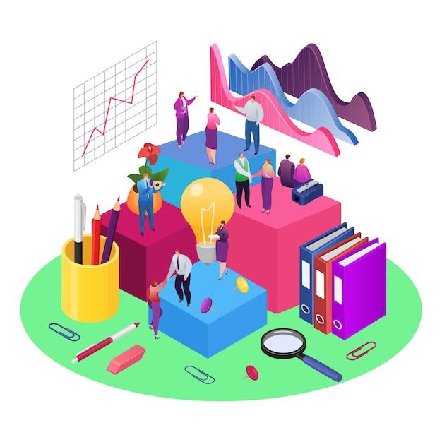 Trabalho em equipe e desenvolvimento de gráficos de análise de dados e ilustração isométrica de dados. relatório financeiro e estratégia. trabalho em equipe de negócios para o crescimento do investimento, marketing e gestão em equipe. Vetor Premium