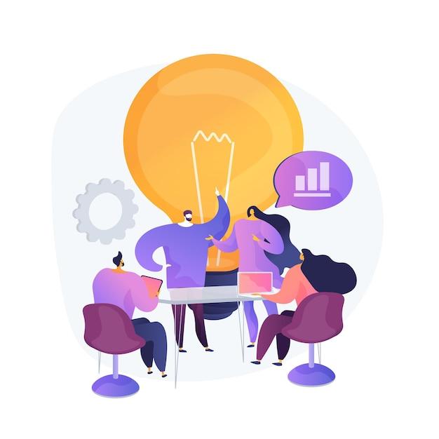 Trabalho em equipe na empresa, geração de ideias. discussão, reunião, conferência. brainstorming de personagens de trabalhadores corporativos, planejamento de estratégia de negócios. Vetor grátis
