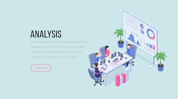 Trabalho em equipe, negociações comerciais, análise de dados, brainstorming, layout de site de funcionários masculino e feminino. Vetor Premium