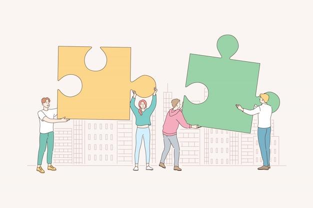 Trabalho em equipe, parceria, cooperação, negócios, quebra-cabeças, conceito de quebra-cabeça. Vetor Premium