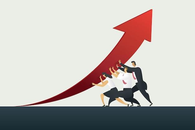 Trabalho em equipe pessoa de negócios, mantendo a seta caminho para gol ou alvo no negócio, sucesso. Vetor Premium