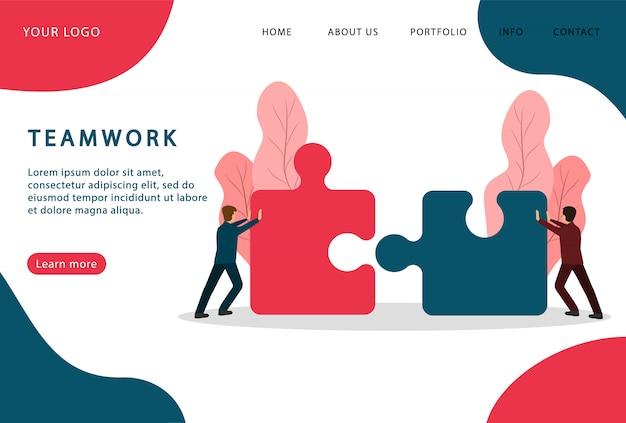 Trabalho em equipe. pessoas conectando o quebra-cabeça. parceria. página de destino. páginas da web modernas para sites da web. Vetor Premium