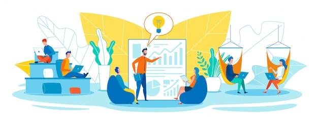 Trabalho fácil e criativo em escritórios abertos Vetor Premium