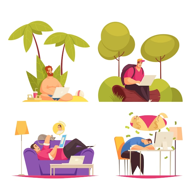 Trabalho flexível remoto freelance 4 composições de conceito dos desenhos animados com a escrita sob a palma da mão, conversando no sofá Vetor grátis