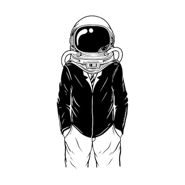 Trabalho usando costum astronauta Vetor Premium