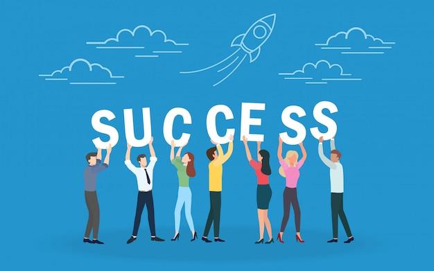 Trabalhos de equipa criativos do negócio bem sucedidos e estratégia empresarial, trabalho em equipe e sucesso. Vetor Premium