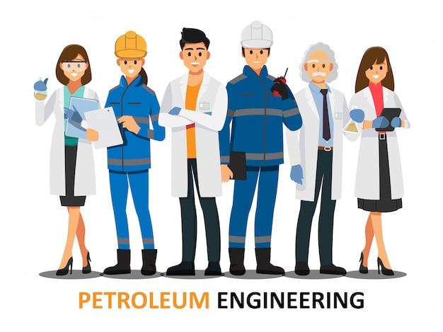 Trabalhos de equipa da engenharia do petróleo, personagem de banda desenhada da ilustração do vetor. Vetor Premium