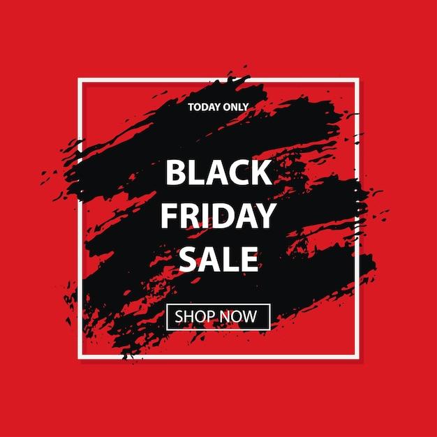 Traçado de pincéis grunge preto de venda sexta-feira em moldura quadrada branca Vetor Premium